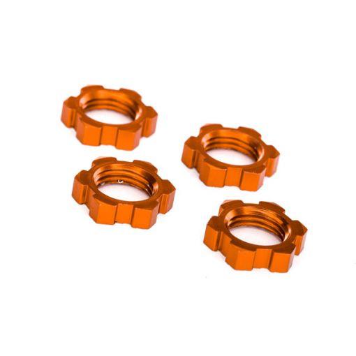 Wheel Nuts, Splined, 17mm, Serrated (orange-anodized)(4)