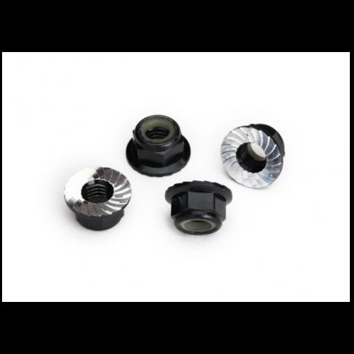 Traxxas Nuts, 5mm flanged nylon locking (aluminum, black-anodized) (4)
