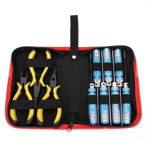 10-in-1 Tool Kit: Hex Driver (1.5, 2.0, 2.5) Nut Driver (4.0, 5.5, 7.0 & 8.0), 3 x pliers