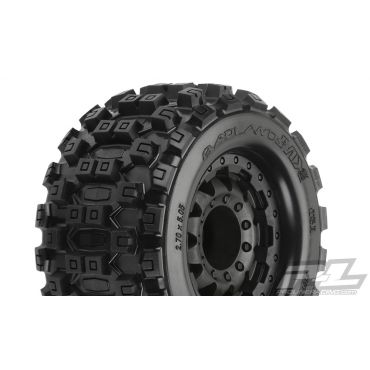 "Pro-Line Badlands MX28 2.8"" All Terrain Tires Mounted on F-11 Bl"